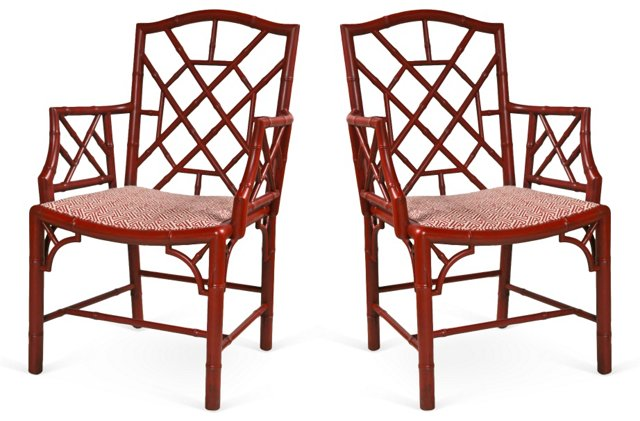 Red Fretwork  Armchairs, Pair