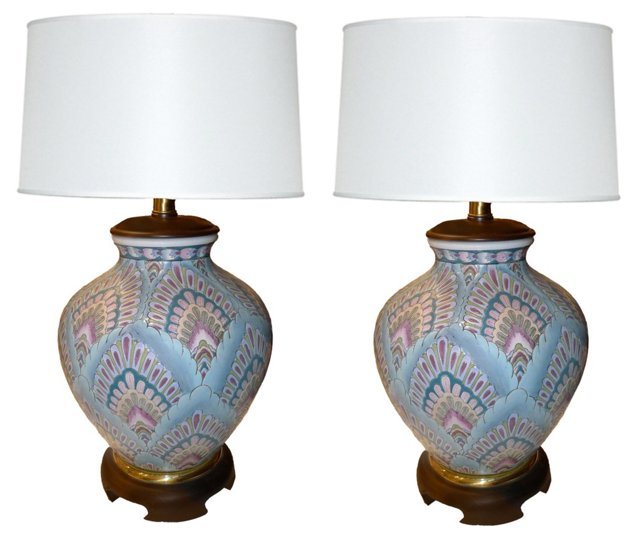 Peacock Feather Cloisonné Lamps, Pair