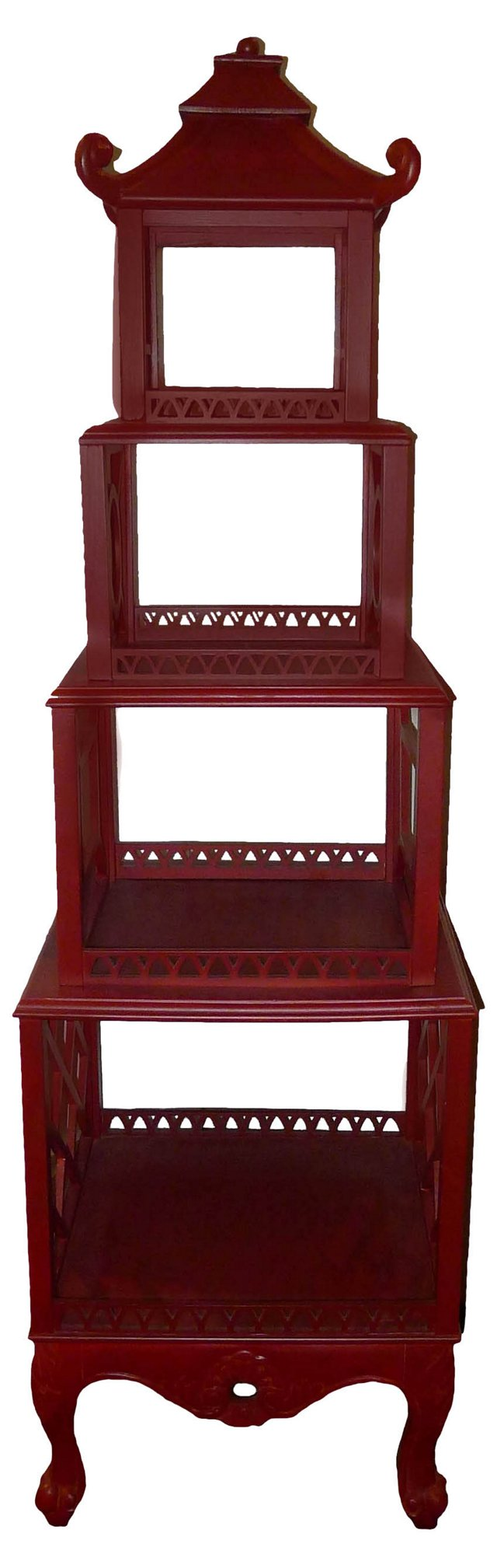 Red Chippendale-Style Pagoda Étagère