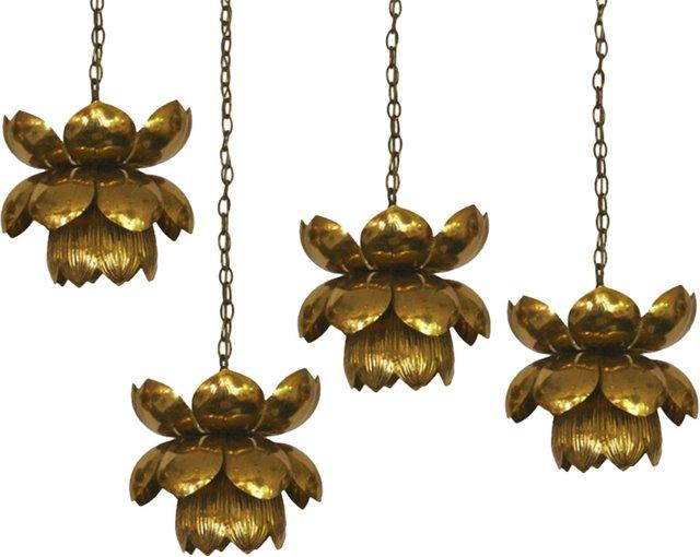 Feldman Brass Lotus Lights, Set of 4