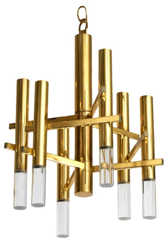 1970s Sciolari Brass & Lucite Chandelier