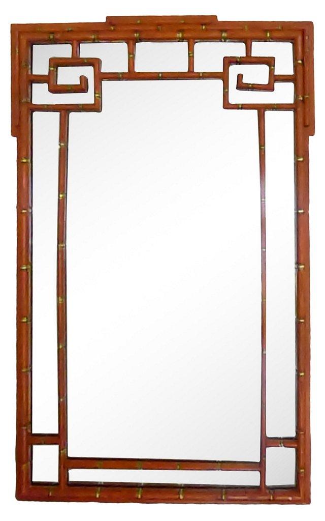Orange & Gold Faux-Bamboo Mirror