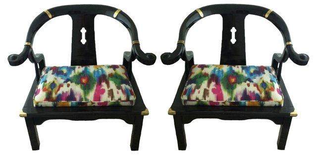 Black Horseshoe Chairs, Pair