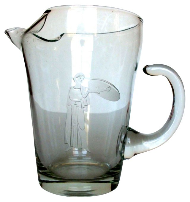 Etched Crystal Water Pitcher