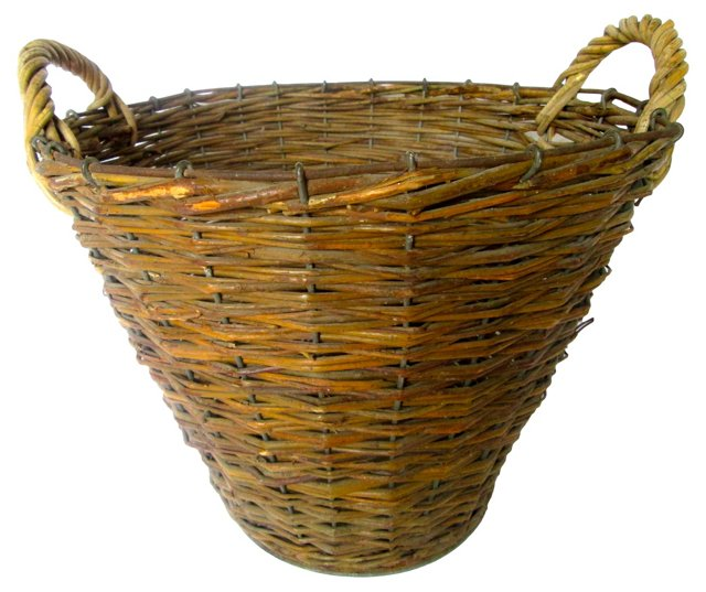 French Zinc & Willow Basket
