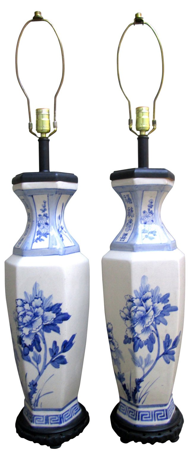 Chinese Blue & White Lamps, Pair