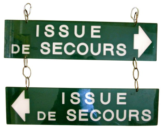 Double-Sided French Exit Sign