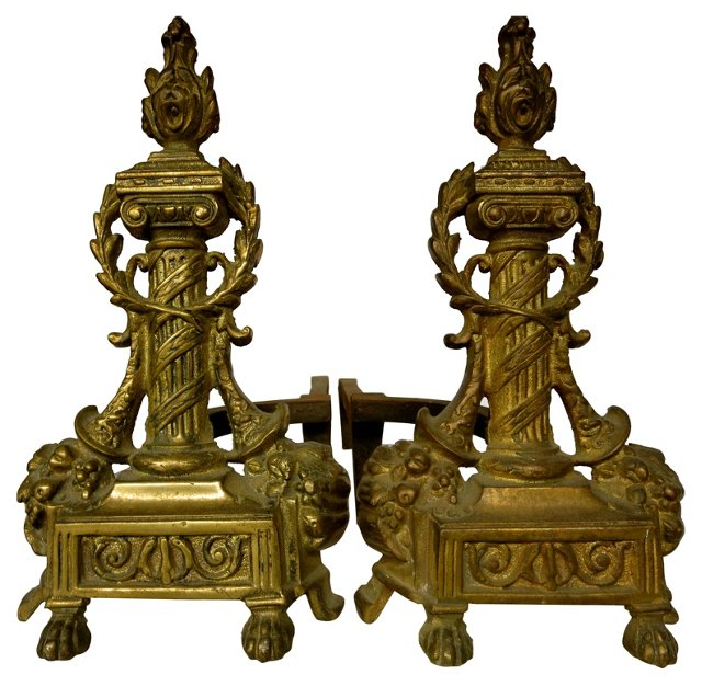 Antique French Bronze Andirons