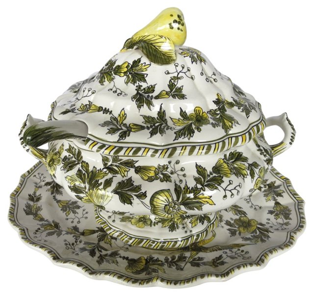 Italian Faience Tureen & Tray, 4 Pcs