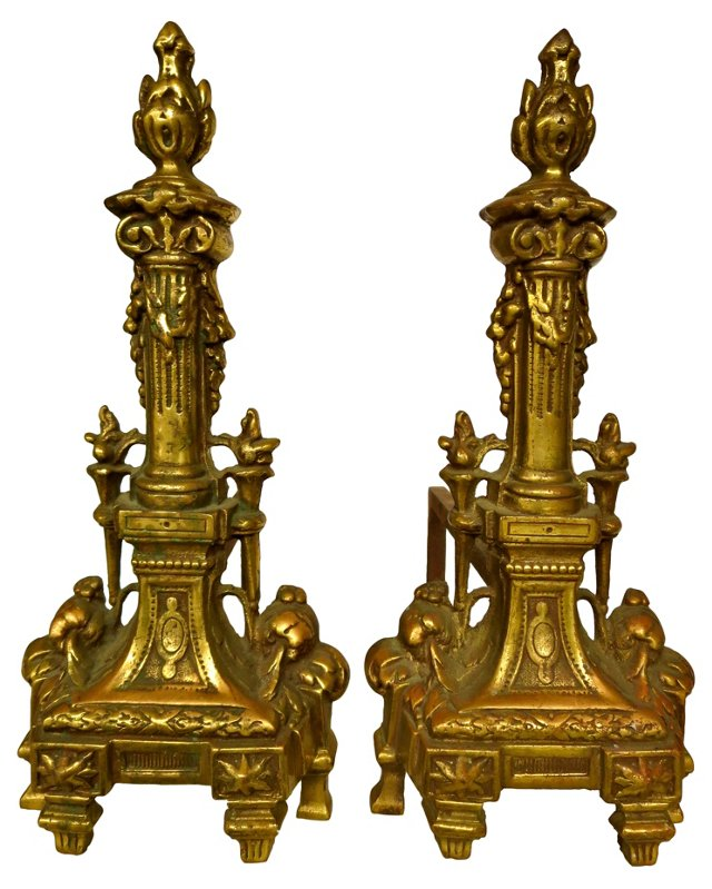 French Brass Torch Andirons