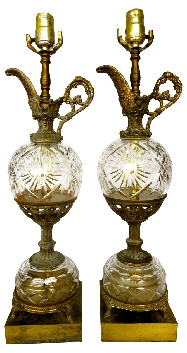 Crystal & Brass Table Lamps, Pair