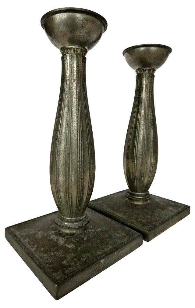 European Pewter Candlesticks, Pair