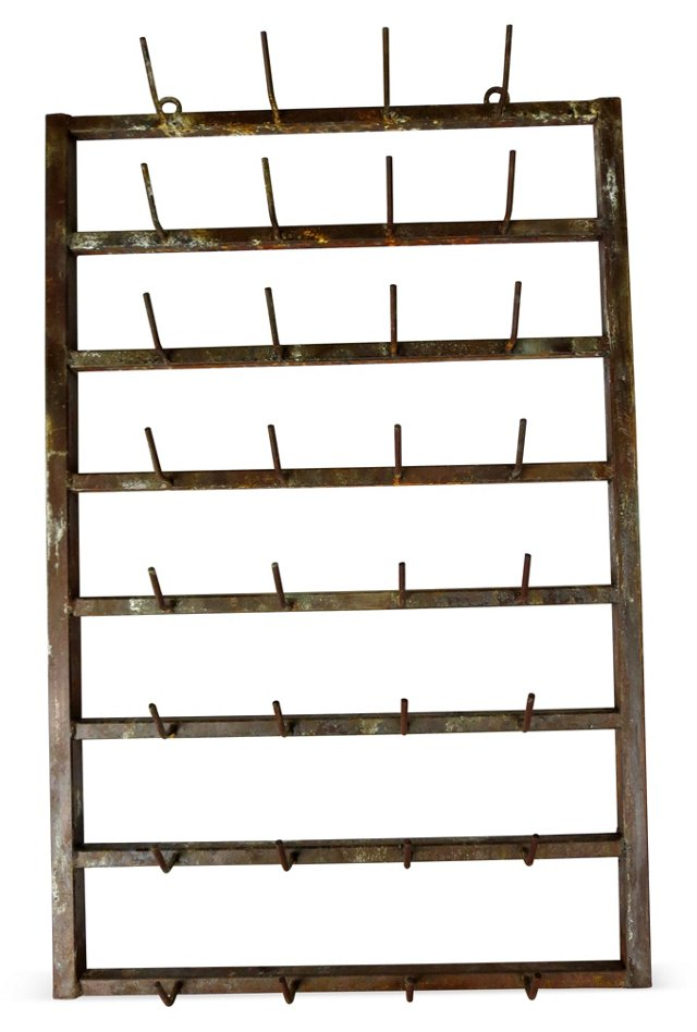 French Iron Vintner's  Wall Rack