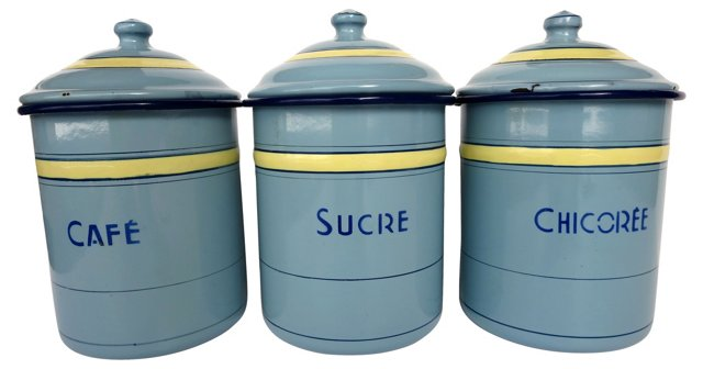 French Enamel Canisters, S/3