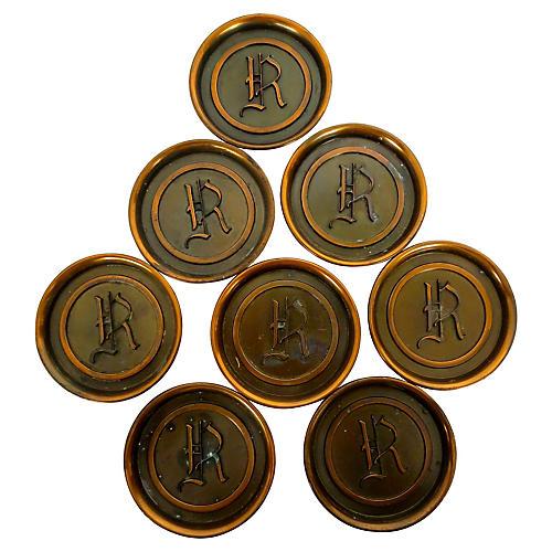 Copper Monogram Coasters, S/8