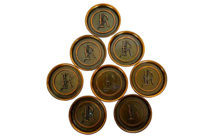 Copper Monogram Coasters, S/8