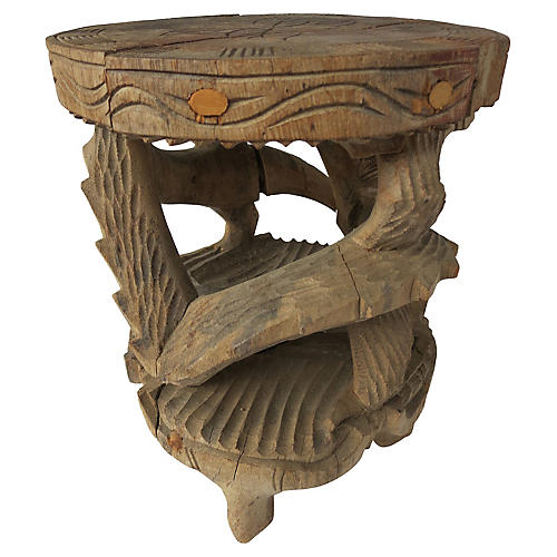 Antique Tibetan Hand-Carved Stand