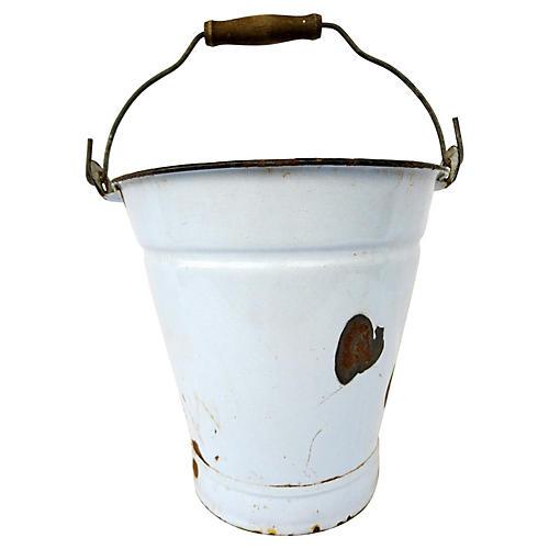 French Blue Enamel Bucket