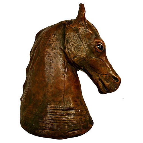 Italian Leather Horse Head Sculpture
