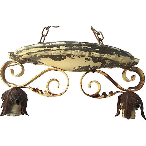 19th-C. French Zinc & Iron Ceiling Light