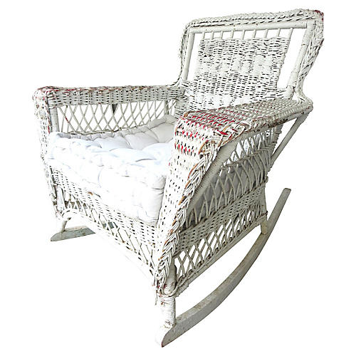1940s French Wicker Rocking Chair