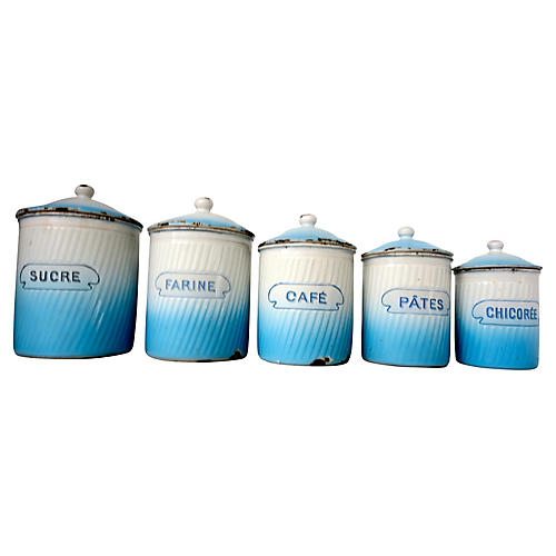 French Enamel Canisters, S/5