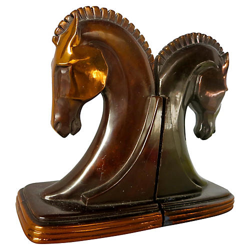 Midcentury Copper Horse Bookends, S/2