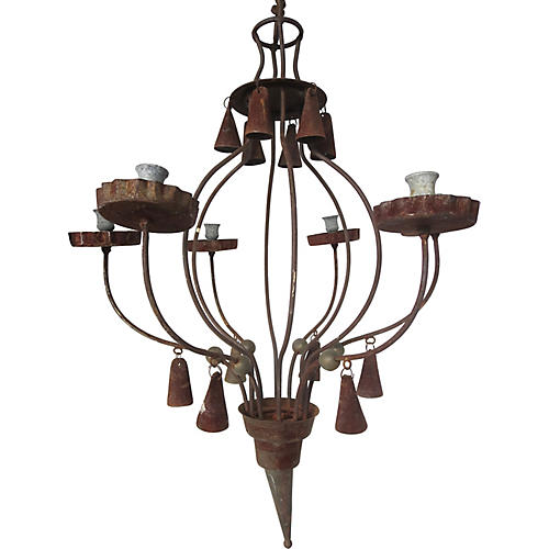 French Iron & Zinc Chandelier