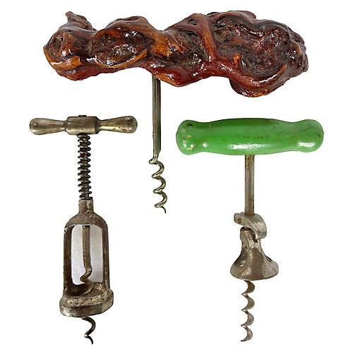 French Bistro Corkscrews, S/3