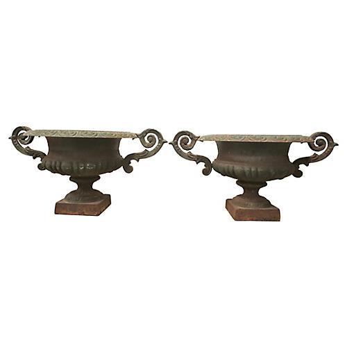 19th-C. French Iron Urns, Pair