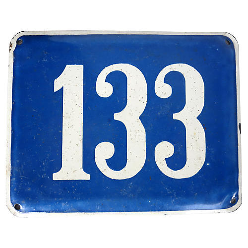 French Enamel Address Plate