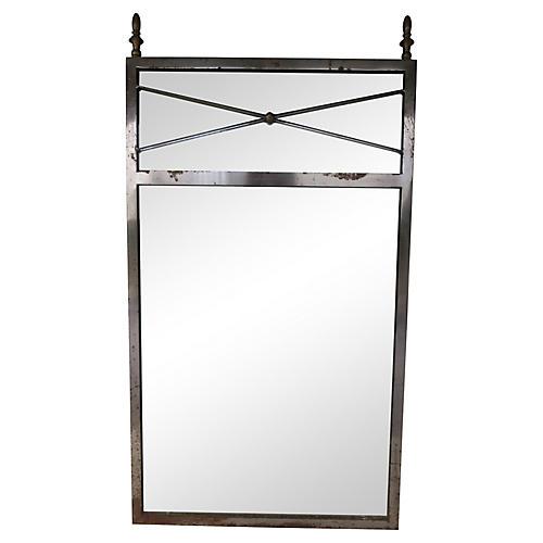French Industrial Steel & Brass Mirror