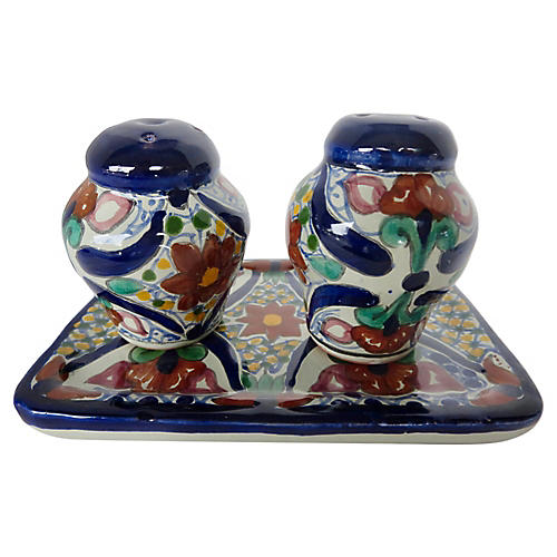 Mexican Salt & Pepper Shakers w/ Tray