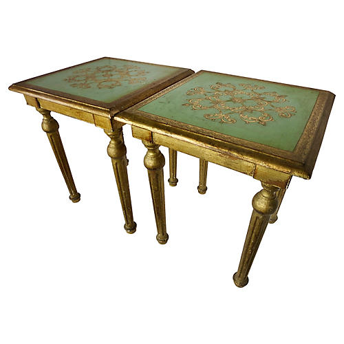 Florentine Side Tables, Pair