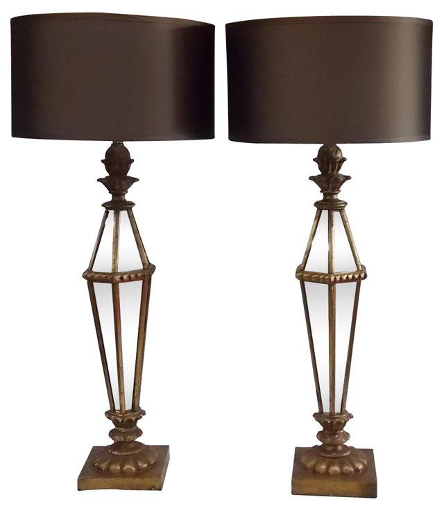Italian Mirrored Table Lamps, Pair