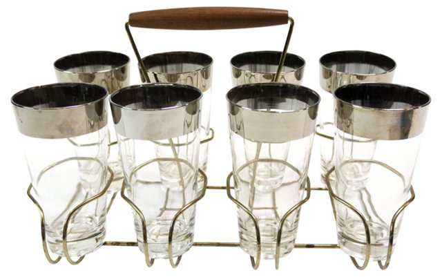 Midcentury Tall Glasses w/ Caddy,  8 Pcs