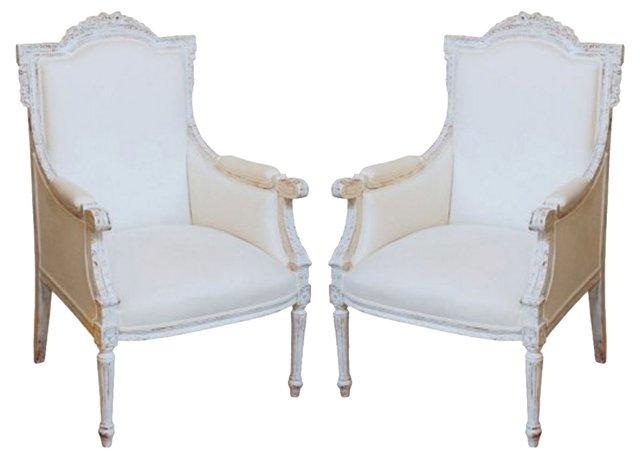 1930s Louis XVI-Style Armchairs, Pair