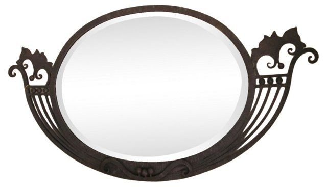 Black Forged Iron Oval Mirror