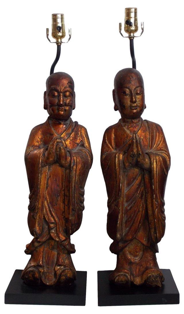 Wood Monks Lamps, Pair