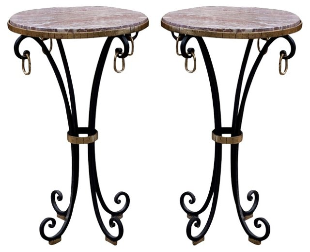 French Marble-Top Iron Side Tables, Pair