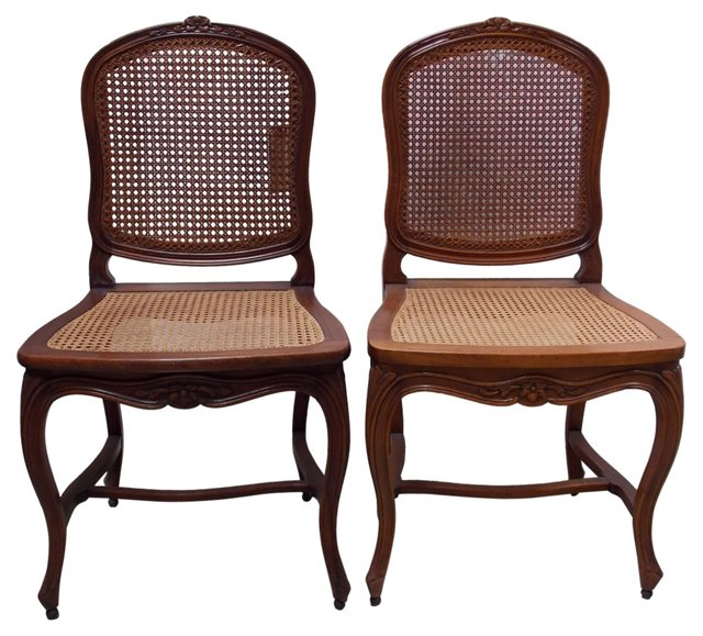 19th-C. French Cane Side Chairs, Pair