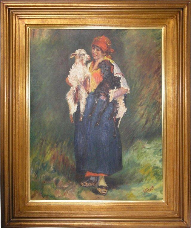 Vintage Peasant Woman w/ Sheeps Painting