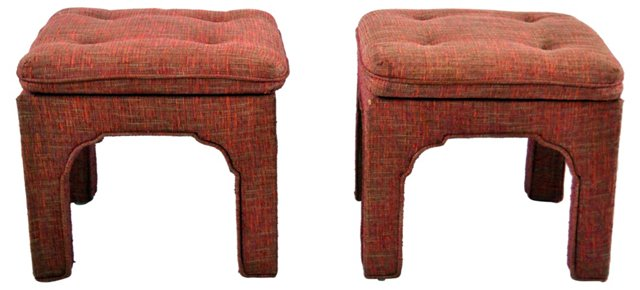 Moroccan-Style Upholstered Stools, Pair