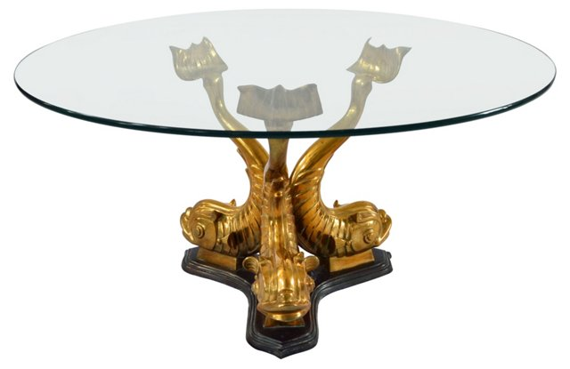 Brass Koi Fish Cocktail Table