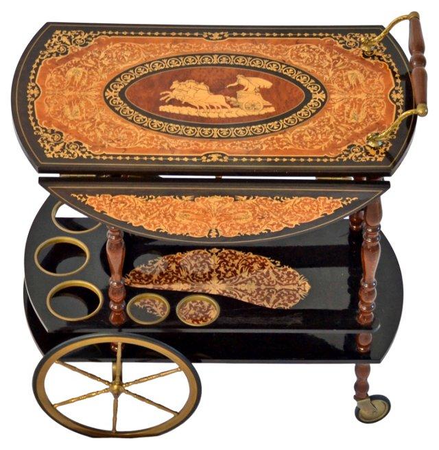 Italian Marquetry Bar Cart