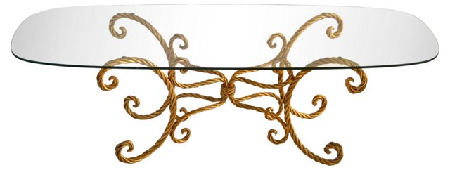 Italian Gilded Faux-Rope Cocktail Table
