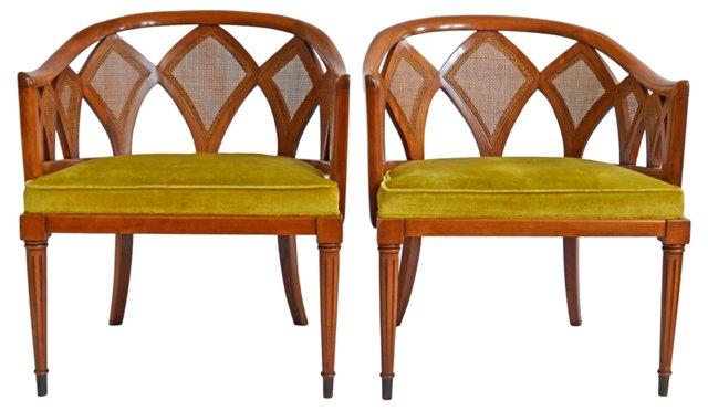 Midcentury  Barrel Chairs, Pair
