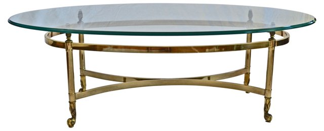 Oval Brass  Cocktail Table