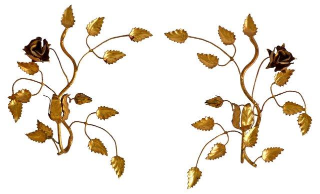 Gilded Tole Floral Sconces, Pair
