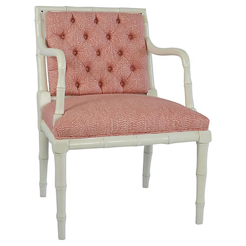 Tufted Faux-Bamboo Accent Chair